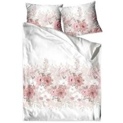 Pościel Satynowa Joy biała różowa beżowa GRENO Gold Line rozmiar 220x200 cm