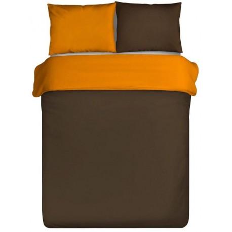 Pościel satynowa Nova brązowa pomarańczowa EUROFIRANY 180x200 cm