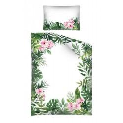 Pościel dziecięca bambusowa Liście Kwiaty 3046 A DETEXPOL rozmiar 100x135 cm