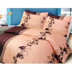 Pościel satynowa Valentini FARO rozmiar 160x200 cm Ivy cream/brown