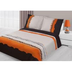 Pościel satynowa z haftem Arte brązowo pomarańczowa EUROFIRANY rozmiar 160x200 cm