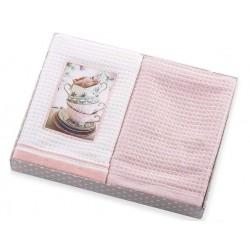 Ręczniki kuchenne 2 cz. Ivet z aplikacją biało różowy Eurofirany 40x60 cm