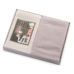 Ręczniki kuchenne 2 cz. Cafe z aplikacją kremowo beżowy Eurofirany 40x60 cm