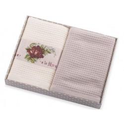 Ręczniki kuchenne 2 cz. Rose z aplikacją kremowo beżowy Eurofirany 40x60 cm