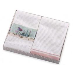 Ręczniki kuchenne 2 cz. Amelia z aplikacją biało różowy Eurofirany 40x60 cm