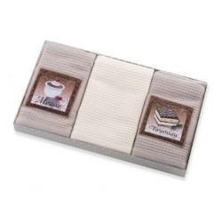 Ręczniki kuchenne 3 cz. Ines z aplikacją beżowo kremowy Eurofirany 40x60 cm