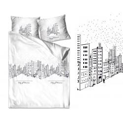 Pościel satynowa GRENO XQ City Of Dreams biały rozmiar 220x200 cm