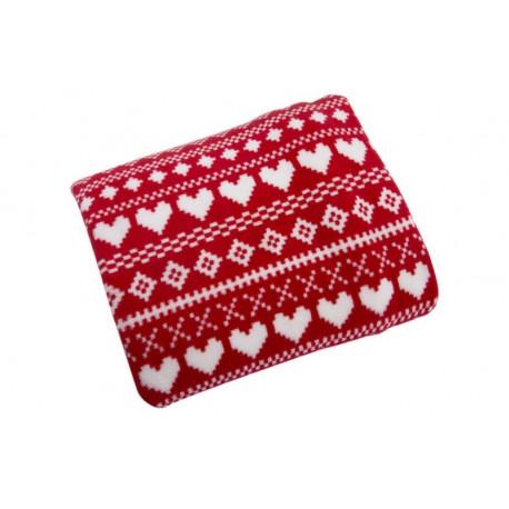 Koc narzuta Heart czerwony mikrofibra EUROFIRANY rozmiar 170x210 cm