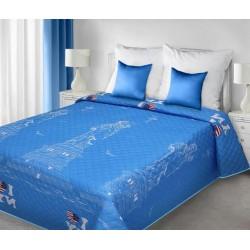 Narzuta dekoracyjna Dinah Nowy York niebiesko biała EUROFIRANY rozmiar 170x210 cm