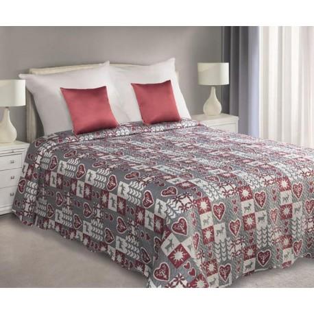 Narzuta dekoracyjna Winter stalowa bordowa EUROFIRANY rozmiar 170x210 cm