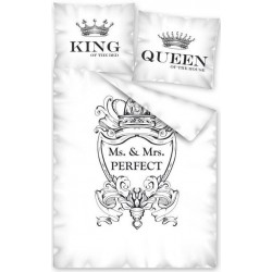 Pościel Queen biała czarna DETEXPOL rozmiar 160x200 cm