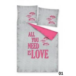 Pościel All you need is love szara różowa DETEXPOL rozmiar 160x200 cm