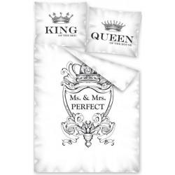 Pościel bawełniana Queen biała czarna DETEXPOL rozmiar 140x200 cm