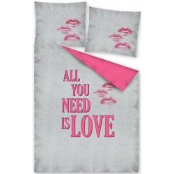Pościel bawełniana All you need is love szara różowa DETEXPOL rozmiar 140x200 cm