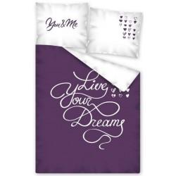 Pościel bawełniana Live Your Dreams Fioletowa DETEXPOL rozmiar 140x200 cm