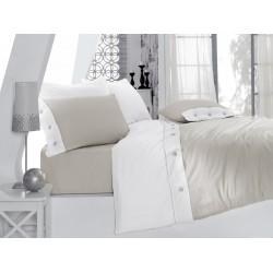 Pościel satynowa Cotton Box jednobarwna szara 002 FARO rozmiar 160x200 cm
