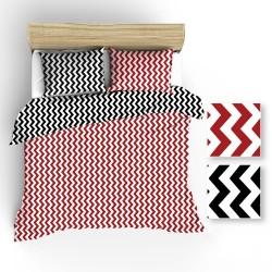 Pościel bawełniana R001 biało czarno czerwona BRITANNICA 160x200 cm
