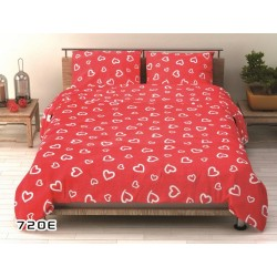 Pościel bawełniana 720E biało czerwona BRITANNICA 160x200 cm